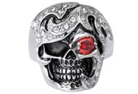 alternative trade - Alternative personality trend skulls men titanium steel ring Europe and the United States foreign trade the original single red eye set auge