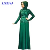 muslim lady scarf - Vintage Muslim Dubai Evening Dresses New Long Sleeve High Neck Lace Robe De Soiree Unique Ladies Foraml Gowns With Scarf