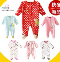 Spring / Autumn baby sleepsuits - Newborn Baby Girls L S Cotton Footed Sleeper Footie Sleepwears boys Velour Sleepsuits With Feet Pajamas Kid s pajamas