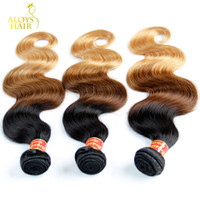 Wholesale Ombre Hair Extensions Brazilian Body Wave Virgin Hair Weave Bundles Three Tone b Grade A Ombre Remy Human Hair Weft