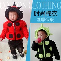 beetle cottons - Hot Sale High Quality children winter cute beetle hooded outwear Kids lovely Winter warm Thickening Down Coat Red Black