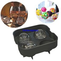Wholesale 4 cup ice cube trays silicone mold Mould Sphere Ice Ball ice cream maker Whiskey Cocktails Party Bar tools supplies