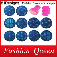 Wholesale 81Designs Nail At Template Set sheet Stamping Plates and Stamper Scraper Nail Art Polish Stamp Stencils Manicure Nail Tools
