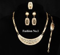 africa pendant sale - Vintage Africa Good Sales K Gold Plated Crystal Pendants Necklace Earrings Ring Bracelet Classic Fashion Wedding Jewelry Sets