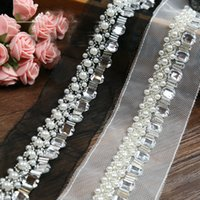 Wholesale free shipp yards Craft Braided Beaded Pearls Rhinestones Trim Embroidered Lace fabric Trim Costume Applique Sewing on Trim