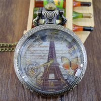 antique mens necklace pendant - New Fashion Paris Effiel Tower Roman Numeral Quartz Pocket Watch Analog Pendant Necklace Mens Womens Popular Gift P102