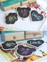 animal shaped paper clips - Wooden heart and animal shape Mini Blackboard Message Paper Clip Mini Chalkboard Notes Folder Bookmark