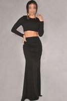 floor length maxi dress - New Autumn Sexy Maxi Skirt Set in Two piece Evening Dress Set Full Sleeve Floor Length Party Dresses Black White B5076