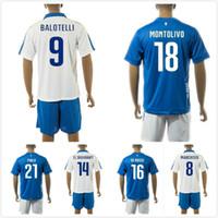 Wholesale 2016 Italy Jersey Soccer El Shaarawy Balotelli Italia Euro Jersey Team National Verratti Away White Maillot De Foot