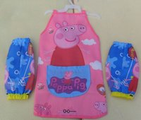Wholesale Children Water proof Peppa Pig Cartoon Pattern Pink Apron Sets Sleeveless Apron Oversleeve Baby Painting Work Aprons sets L0807