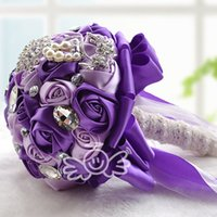 purple wedding decorations - 2015 Cheap Bridal Artificial Wedding Bouquet Wedding Decoration Bridesmaid Flower Beaded Crystals Silk Roses Cream Red Pink Champagne Purple