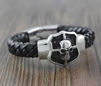 Wholesale Skull Link Bracelet - Mens Punk Rock Metal Cross Skull Shield bangles leather Manual Braid Bracelet