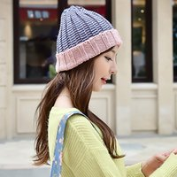 cotton wool roll - Fashion New Mix Color Beanies Caps Thicken Wool Acrylic Knitting Hat Winter Warm Roll up Hem Knit Caps Elastic Peaked Hats For Women H101