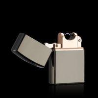 Wholesale 2016 New Metal USB Electric USB Arc Lighter No Big Noise Cigarette Cigar Windproof Flameless Lighter