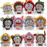 Wholesale Cute Birthday Doraemon - 12pcs LJJC2102 2015 12pcs set High Quality Super Cute China the Twelve Zodiac Version Doraemon Plush Toy Baby Toy Machine Cat Birthday Gift
