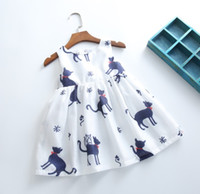baby cat boat - 6 Color Spring Summer Girls Dress Sleeveless Vest Flora Cats Dress Cotton Beach Girl Baby Clothes Dress Tops Children Clothes K6743