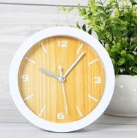 Wholesale Rustic small alarm clock wood clock desktop clock and watch brief clock quieten edition