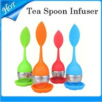 Wholesale Stainless Steel Tea Spoon Infuser Strainer Filter with Green Silicone Leaf Lid