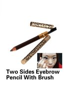 Cheap Wholesale-New Eyebrow Pencil Two Sides With Brush Leopard Design Metal Casing Fashion FE#8
