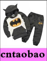 Wholesale New Fashion Children Outfits Tracksuit Batman grey pink Clothing Children Hoodies Kids Pants Sport Suit Boys Clothing Set