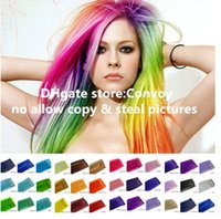 Wholesale Fashion Womens Girls Clip on in Synthetic Hair Extensions Straight Colorful Hair Extensions candy colors Rainbow Hair piece Wig FP01