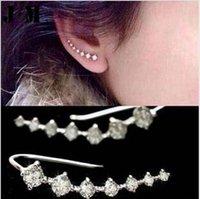 Wholesale HOT Punk Rock Rhinestone ear cuff wrap earring Silver piercing ear cartilage