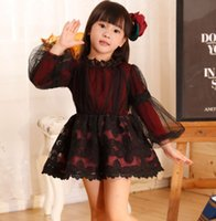 winter long sleeves dress - Girls Floral Dresses Winter Children Girl Lace Yarn Princess Party Skirts Kids Long Sleeve Dresses Clothing Black Lake Blue Rose I2056