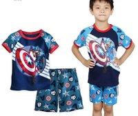 Cheap baby boys Captain America suits children summer cartoon priinting shirts+short pants 2pcs sets kids fashion clothing JL-2963