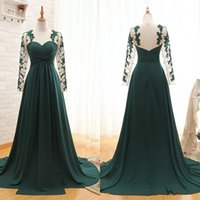 Cheap 2015 Elegant Dark Green Sweetheart Prom Dresses Floor Length with Sheer Long Lace Sleeves Chiffon Formal Party Gowns