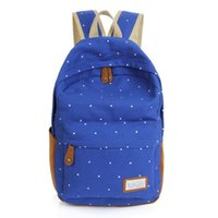 Wholesale Korean style color Cute double Shoulder book Bags fashion girls women canvas Dots schoolbag middle school students backpacks
