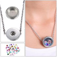 floating charm locket necklace - Group Deals Floating Locket Snap Button Connector Charm Bead Necklaces Pendant Jewelry Fit On Popular Brand Name Snap Accessories