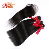 Wholesale 7AThick Silky Straight Human Hair with Lace Closure Brazilian Straight Hair Extensions Natural Color Dyeable Lace Frontal Bundles
