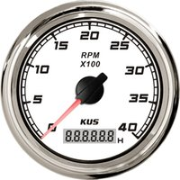 Wholesale 85mm tachometer KL SQ KF07113 white faceplate stainless stee bezel for boat yacht marine universal truck car