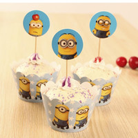 Wholesale Party Decorations Event Minions cupcake Wrapper Despicable Me Cupcake WrappersToppers Picks Kids Birthday Supplies Party Favors GD254
