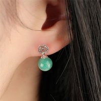 Wholesale REAL PURE Sterling Silver with Jade Earrings SES0003 FOR ELEGANT WOMAN FINE JEWELRY STUD EARRINGS