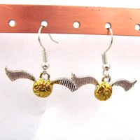 Wholesale 2015 New Movie Jewelry Harry Potter Earrings Quidditch Earrings Fashion Golden Snitch Woman Earrings Christmas Gift