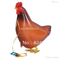achat en gros de animaux de la ferme de poulet-10pcs Whosale / lot Walking Mes ballons à pied propre Pet Chicken Animal Farm Édition Mylar Balloon livraison gratuite