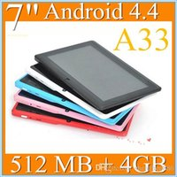 Wholesale 50pcs inch Capacitive Allwinner A33 Quad Core Android dual camera Tablet PC GB MB WiFi EPAD Youtube Facebook Google PB7A
