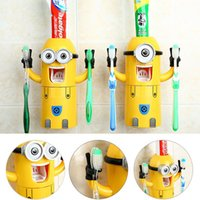 Wholesale Cute Minions Design Wash Set Toothbrush Holder Automatic Toothpaste Dispenser with Brush Cup