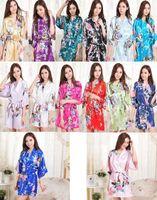 Wholesale new Colors Sexy Chinese Women Silk Rayon Robe Wedding Bridesmaid Sleepwear V Neck Kimono Bath Gown Mujer Pajama Plus Size S XL