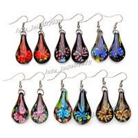 Wholesale Fashin Pairs handmade mix color Italian Gold sand Drop Flower Lampwork murano glass Earrings E107 Z