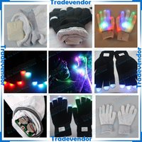Wholesale Halloween Christmas LED Gloves Dancer Bar Party Gloves Rave Light Finger Lighting Flashing Glow Gloves For Concerts Raves Clubs Hip hop