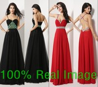 Wholesale Sexy Black Red Prom Evening Dresses Beads Crystal Chiffon Backless Real Image Bridal Party Celebrity Gowns Black Friday In Stock