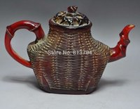 oriental statues - China Collectible Oriental amber Handwork Carve Amber Teapot Statue