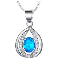 beaded items - 2015 Hot Sale Special Offer Blue Pendant On A Chain Neckless Women Gift Items Engagement Crystal Zircons Jewelry Sliver N1120 Model1