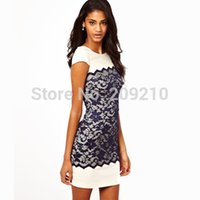 Wholesale Plus size S XL women summer dress short sleeve lace Embroidery fashion patchwork slim hip bodycom dress office work dress