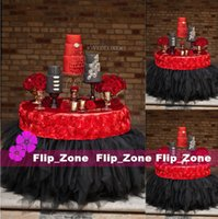 cotton table runner - Custom Made D Rose Flowers Table Cloth for Wedding Party Decorations Cake Tablecloth Round Rectangle Table Decor Runner Tulle Skirts Carpet