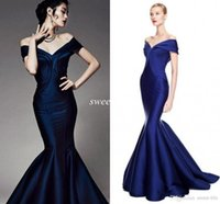 best celebrity short dresses - Best Selling Mermaid Evening Dresses Navy Blue Off Shoulder Sexy Satin Sweep Train Custom Made Long Party Gowns Celebrity Prom Dresses