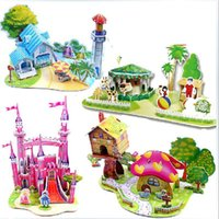 Wholesale In business Game cardboard christmas gift D jigsaw puzzle DIY paper model children s toys puzzles Castle Cottage Paperback