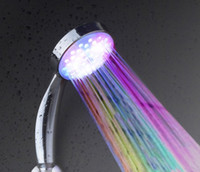 Wholesale High Quality Brand LD8008 A14 Multiple Color colors Automatic Jump Changing Water Flow LED Shower head Bath LED Handle